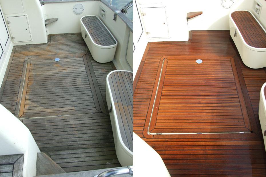 nettoyage entretien teck bateau